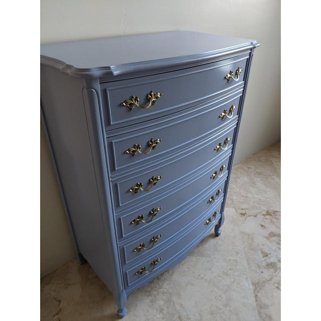 Beautiful four-drawer Dixie refurbished highboy dresser. The two bottom drawers are double drawers. It appears to have six...
