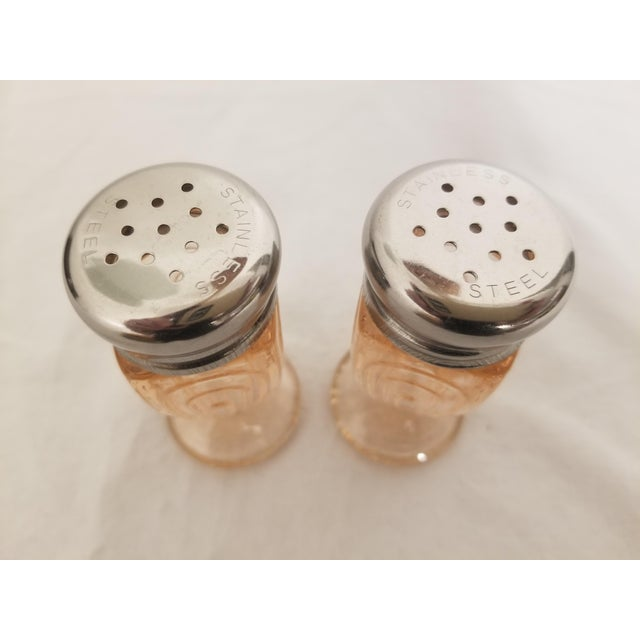Vintage Art Deco Pressed Pink Glass Footed Salt and Pepper Shakers - a Pair For Sale - Image 4 of 8