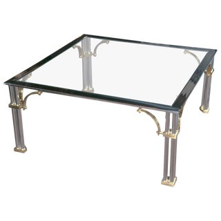 Chrome and Brass Square Fretwork Coffee Table For Sale