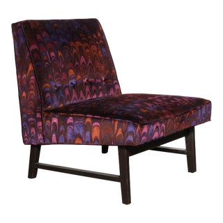 1950s Edward Wormley for Dunbar Lounge Chair with Jack Lenore Larsen Fabric For Sale