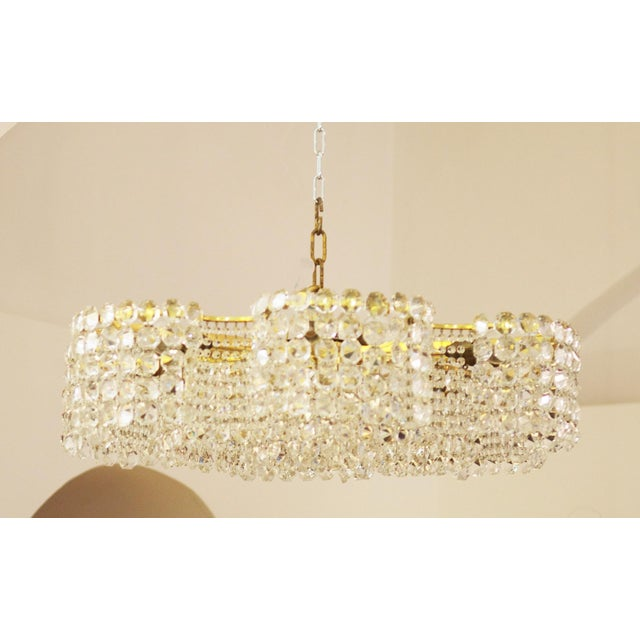 Large Chandelier of Cut Crystal by JL Lobmeyr for Lobmeyr, 1950 For Sale - Image 9 of 11
