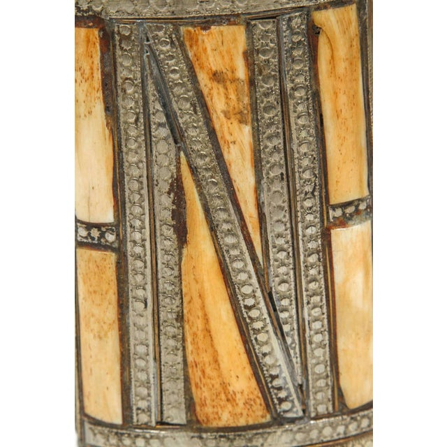 Great decorative Moroccan gun brass powder flasks. African decorative brass with front richly decorated with Moorish...