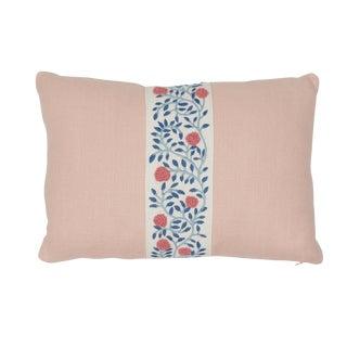 Contemporary Schumacher Ashoka Tape & Piet Performance Linen Lumbar Pillow in Rose Quartz For Sale