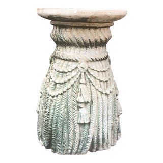 Shabby Chic Plaster of Paris Tassel Side Table For Sale