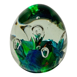 Mid Century Ovoid Murano Glass Paperweight For Sale
