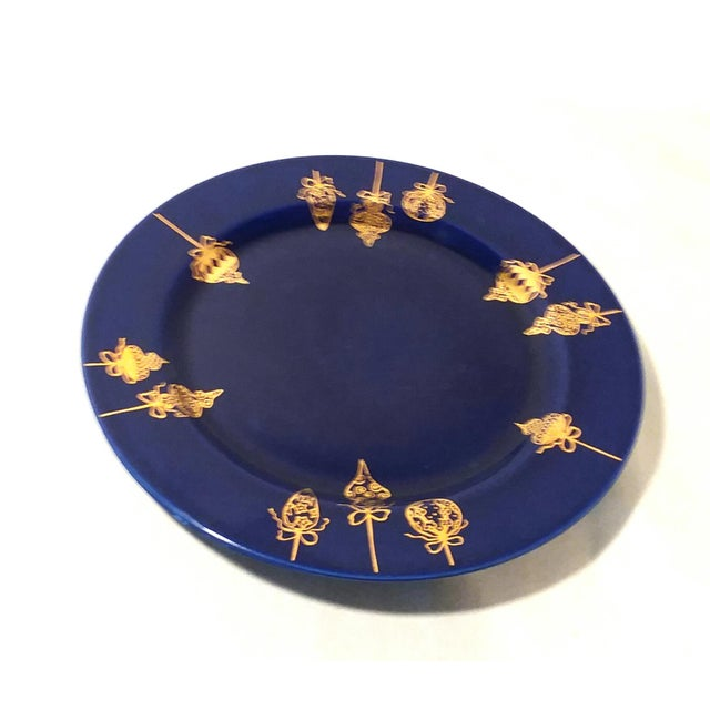 Cobalt Blue & Gold Dinner Plates - a Pair For Sale - Image 4 of 9