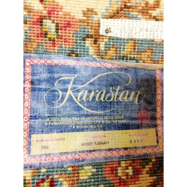 """Vintage Karastan Ivory Kirman Area Rug - 5'9"""" x 9' - Image 7 of 8"""