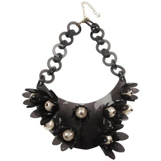 Italian Designer Transparent Gray Lucite Bib Necklace Huge Flowers and Pearl For Sale