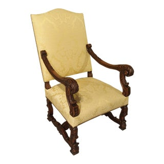 Circa 1890 Antique French Walnut Wood Armchair For Sale