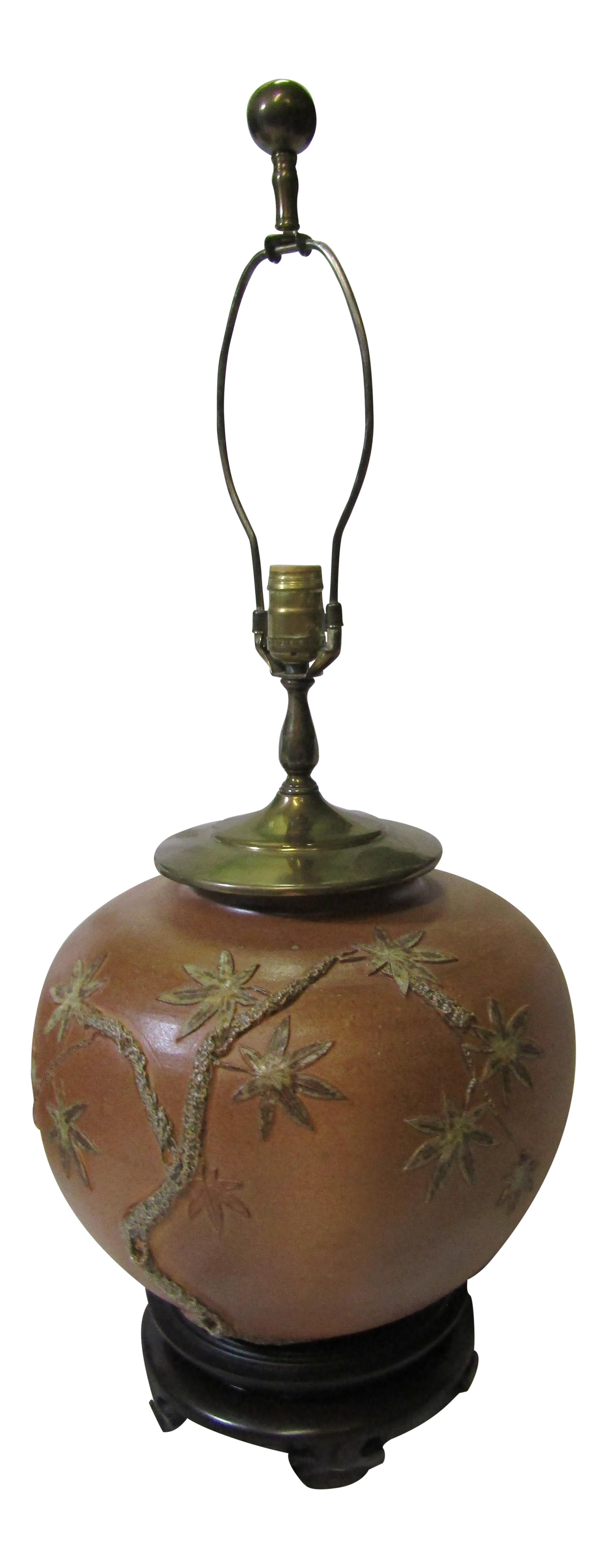 Large Ceramic Table Lamp With Applied Floral Design For Sale