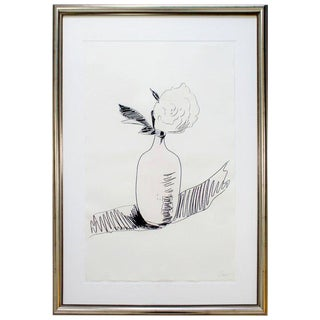 """Flowers"" (Black and White) Framed Screenprint, Signed Andy Warhol For Sale"