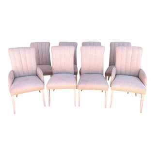 Rare 'Casa Bique' by Thomasville Cream Embossed Fabric Dining Chairs With Channel Back and Roll Top - Set of 8 For Sale