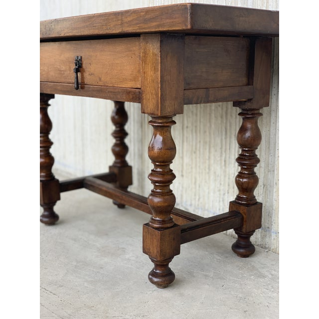 Spanish 1890s Walnut Side Table Single Drawer Wit Turned Legs For Sale - Image 10 of 13