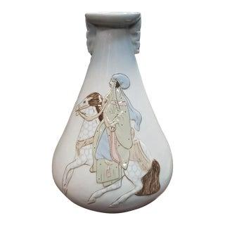 Vintage Circa 1960 Spanish Porceval Porcelain Arabian Man on Horseback Motif Vase For Sale