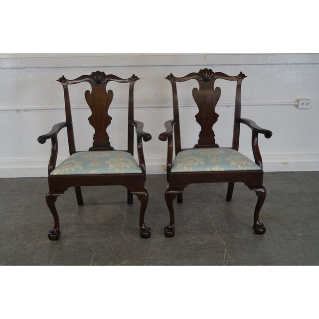 Henkel Harris Mahogany Chippendale Dining Chairs - Pair - Image 2 of 10