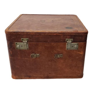 """Antique """"Your Chance"""" Leather Luggage Case, Shanghai, China C.1940 For Sale"""