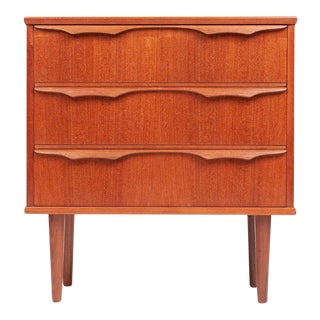 Danish Teak Mid Century Small Three Drawer Chest For Sale
