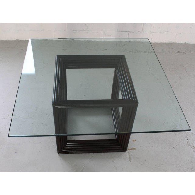 Large Square Thick Glass Top Rattan Cube Base Dining Conference Table For Sale - Image 10 of 13