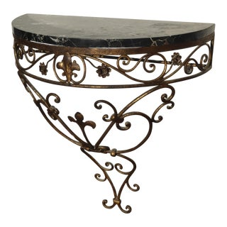 Vintage Iron & Marble Gold Wall Mounted Console Table For Sale