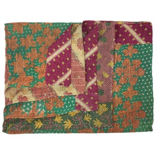 Extra Thick Raspberry and Floral Fields Kantha Quilt | Sari Throw For Sale