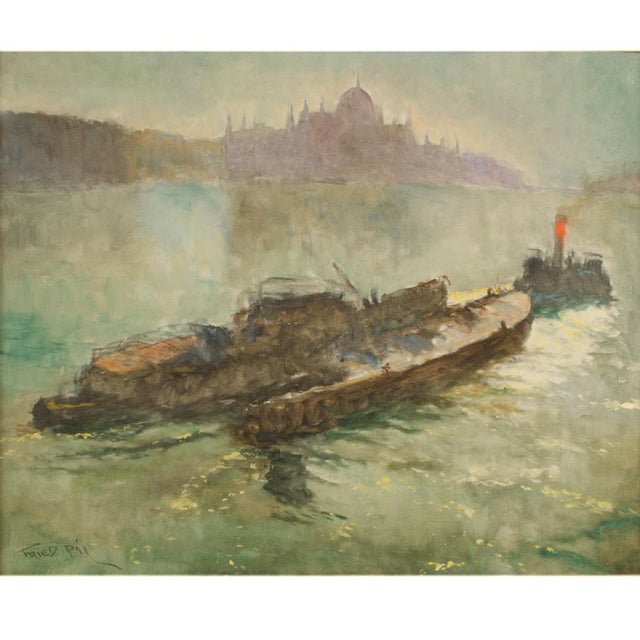 "Early 20th Century ""Towboat"" Nautical Oil Painting by Pal Fried, Framed For Sale - Image 4 of 12"