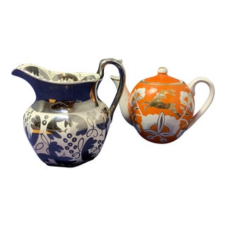 Silver Wedgwood Floral Creamer and Uzbek Orange Gold Deer Teapot - a Pair For Sale