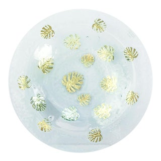 Large Art Glass Centerpiece Bowl With Gold Leaf Design For Sale