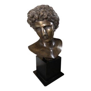 Late 20th Century Traditional Bronze Greek Male Statue Bust For Sale