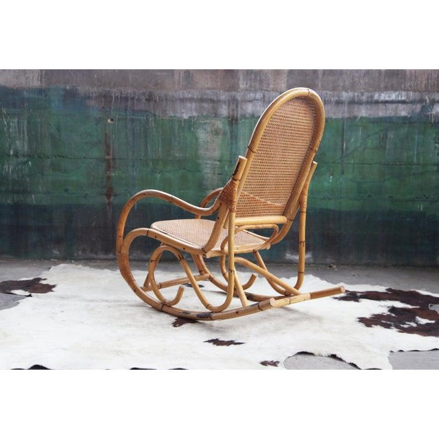 Wicker Mid-Century Hollywod Regency Boho Style Chic Rocking Chair For Sale - Image 7 of 11
