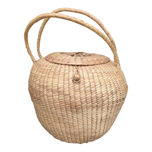 Woven Lidded Basket With Handles - Image 1 of 5