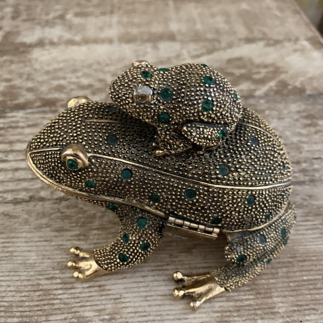 Bejeweled Gold Frog Paperweight and Desk Accessory Set For Sale - Image 4 of 11