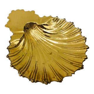 Vintage Brass Seashell Dish For Sale