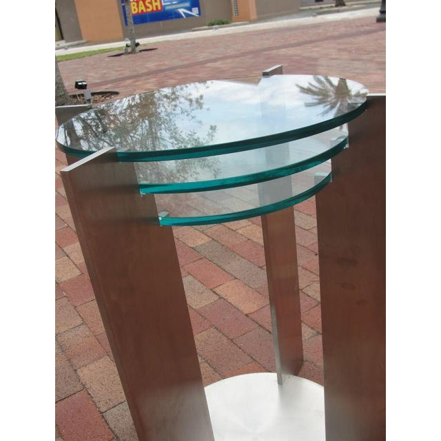 1980s Art Deco Streamline Side Tables in Solid Steel - a Pair For Sale - Image 5 of 5