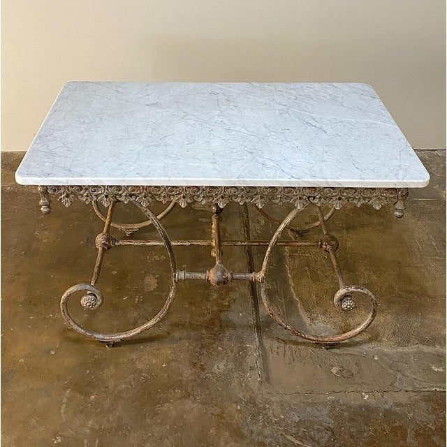 19th Century Iron Marble Top Confectioner's Table For Sale In Dallas - Image 6 of 13