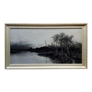 Julian Rix 1884 Russian River -19th Century California Impressionist Oil Painting For Sale