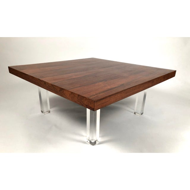 Thayer Coggin 1967 Milo Baughman Rosewood and Lucite Coffee Tables - a Pair For Sale - Image 4 of 10