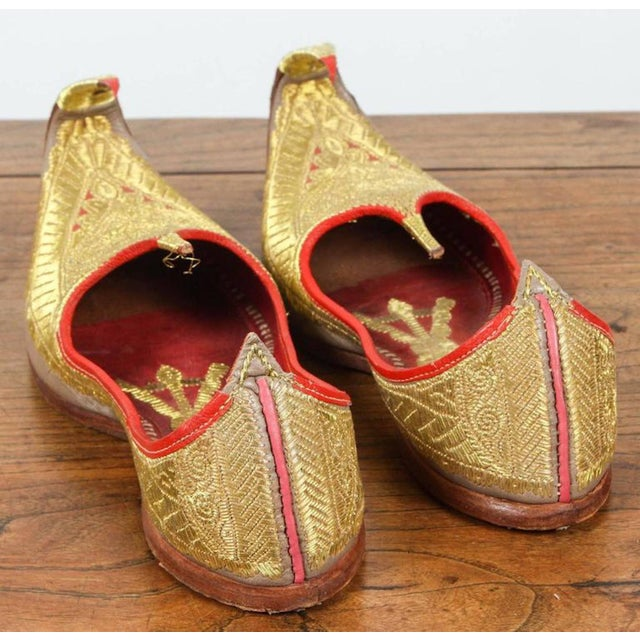 Islamic Gold and Red Embroidered Leather Shoes For Sale - Image 3 of 4