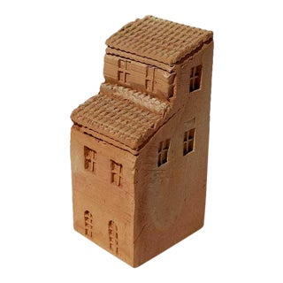 Vintage Miniature Clay Townhouse Sculpture For Sale