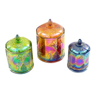 Lidded Iridescent Lime Green, Orange and Blue Carnival Glass Canisters - Set of 3 For Sale