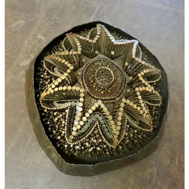 """Seyle is well known for his intricate and detailed nail sculptures. This wall mounted piece measures 18"""" x 16"""" x 6"""" deep..."""