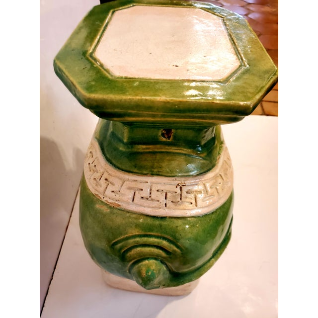 Vintage Green & White Elephant Garden Seat End Table For Sale - Image 9 of 13
