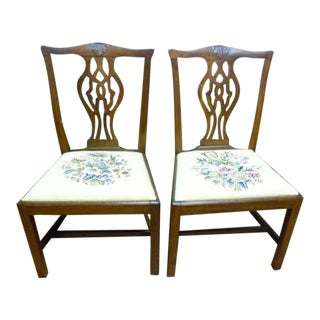 Mahogany Chippendale Side Chairs - A Pair For Sale
