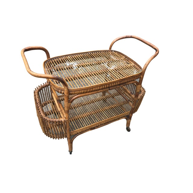 Mid-Century Modern Vintage Boho Chic Rattan and Bamboo Bar Cart For Sale - Image 3 of 5
