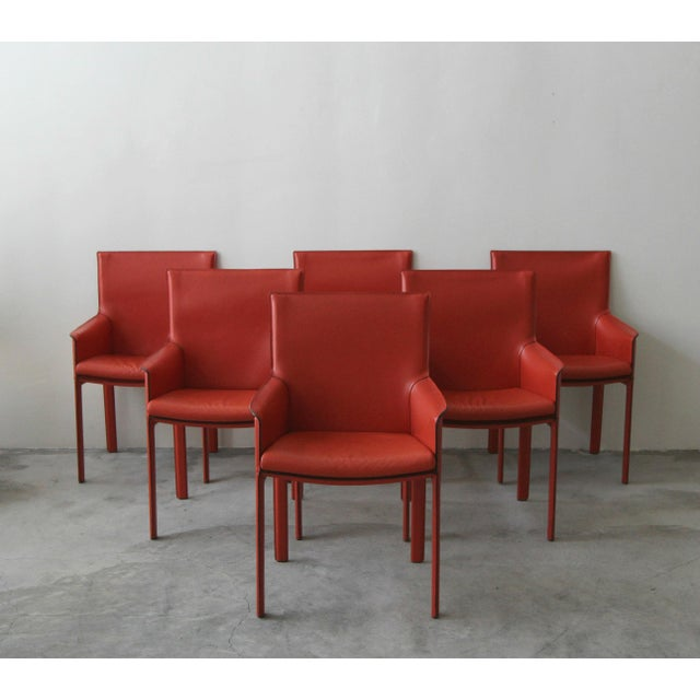 Contemporary Set of 6 Orange Italian Leather Dining Chairs by Enrico Pellizzoni For Sale - Image 3 of 13