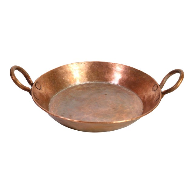 Antique 19th Century French Handmade Hammered Copper Double Handled Pan For Sale