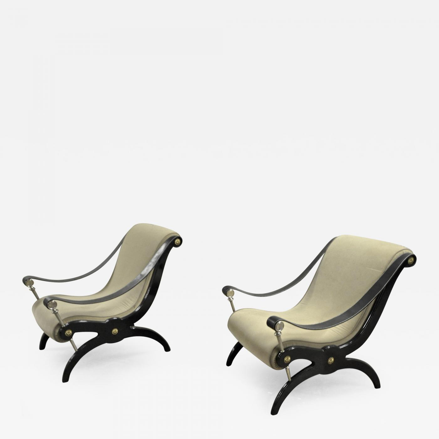 Animal Skin Style Of Andre Arbus Pair Of Neo Classic Lounge Chairs For Sale    Image
