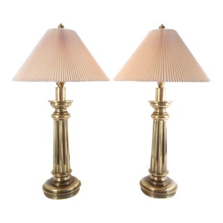 1970's Stiffel Brass Fluted Column Table Lamps ~ a Pair For Sale