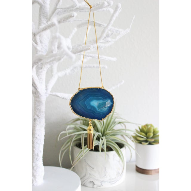 Modern Boho Teal Agate Holiday Ornament - Image 4 of 5