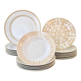 Colin Cowie Contemporary Ceramic Modern Geometric Dinnerware - Set of 20