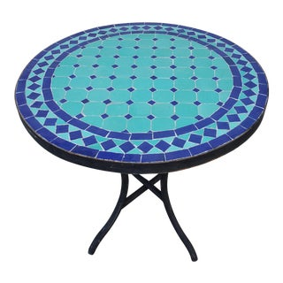 Moroccan Turquoise/Blue Mosaic Side Table For Sale